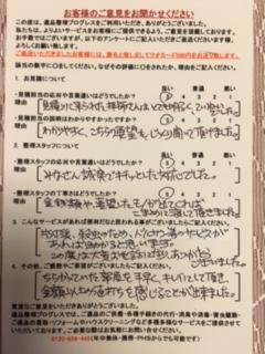 M・Y様 大阪府東大阪市のアンケート用紙