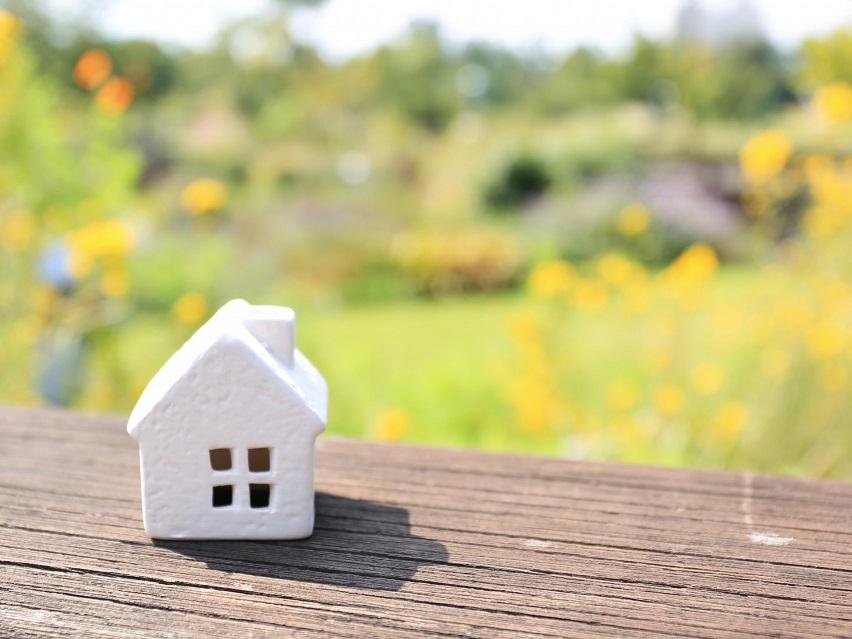 家のミニチュアと自然