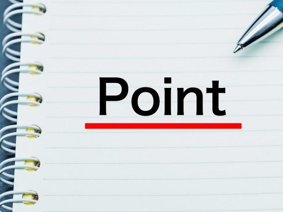 手帳とペンとPointの文字