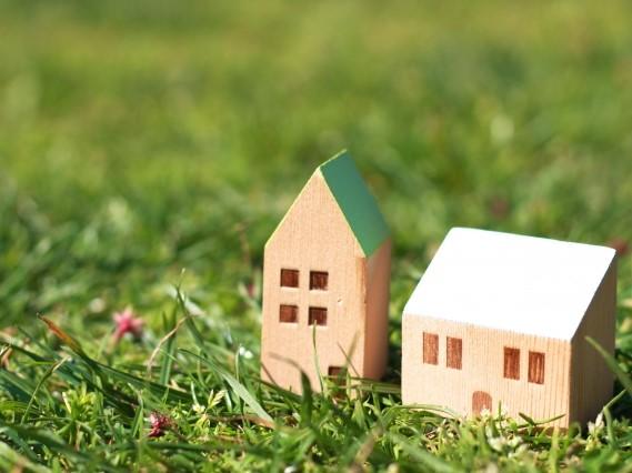 草原に置かれた2つの家の置物